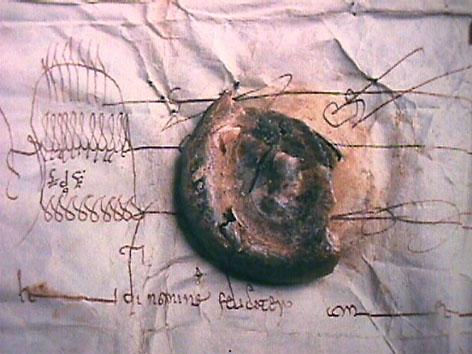 Sceau de Louis IV d'Outremer rivé à un acte de 953